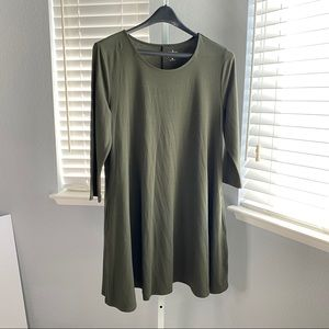 NY&CO Jersey Dress Olive Green Size Large